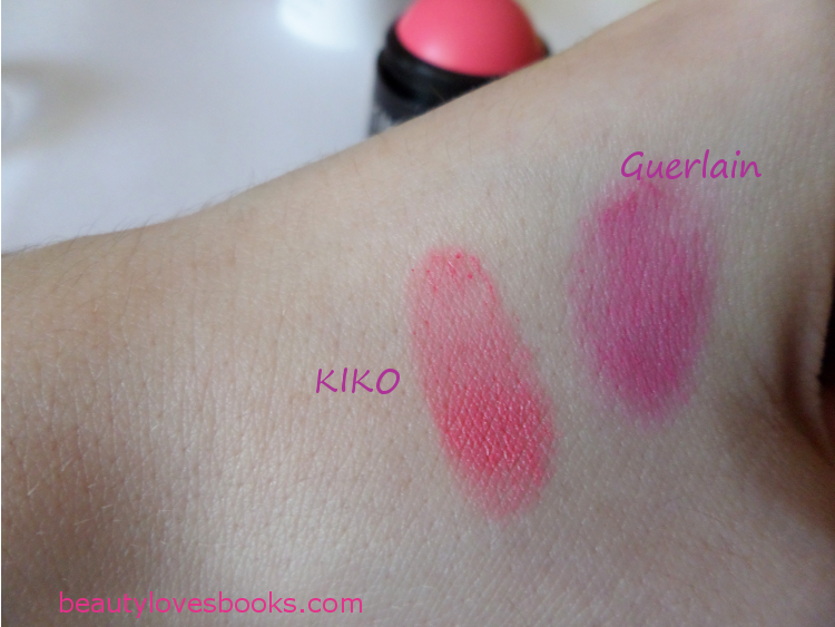 KIKO Cheeky colour creamy blush in 03 Strawberry pink and Guerlain Meteorites bubble blush in Cherry