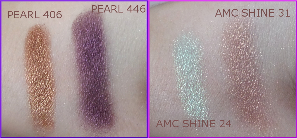 Inglot eyeshadows swatches PEARL 406, PEARL 446, AMC SHINE 24, AMC SHINE 31