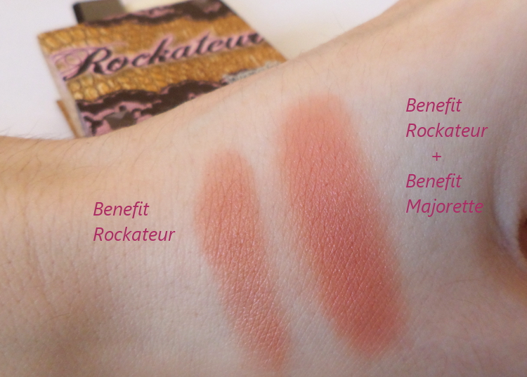 Benefit Rockateur on top of Benefit Majorette booster blush swatch