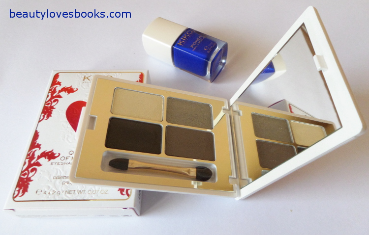 KIKO Queen of Hearts eyeshadow palette in 02 Luxury Stone Green and Poker nail laquer in 05 Exclusive blue