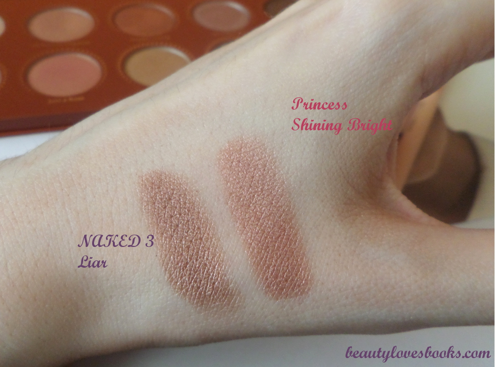 Zoeva Princess palette vs Naked 3 swatches