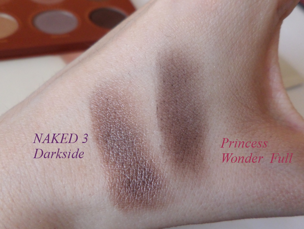 Zoeva Princess vs Naked 3 swatches