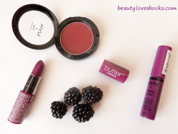 NYX Butter gloss in Raspberry tart, NYX Butter lipstick in Hunk, NYX Cream blush in Diva