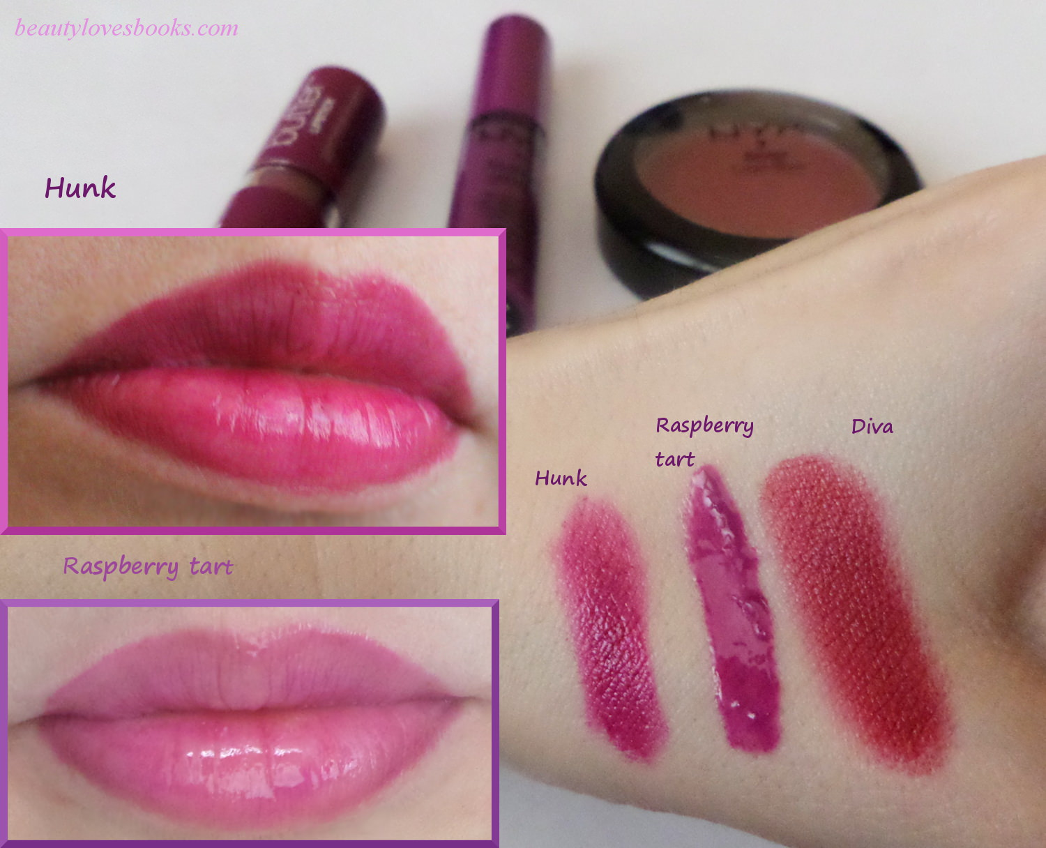 NYX Buttur gloss in Raspberry tart, NYX Butter lipstick in Hunk, NYX Cream blush in Hunk - review, swatches