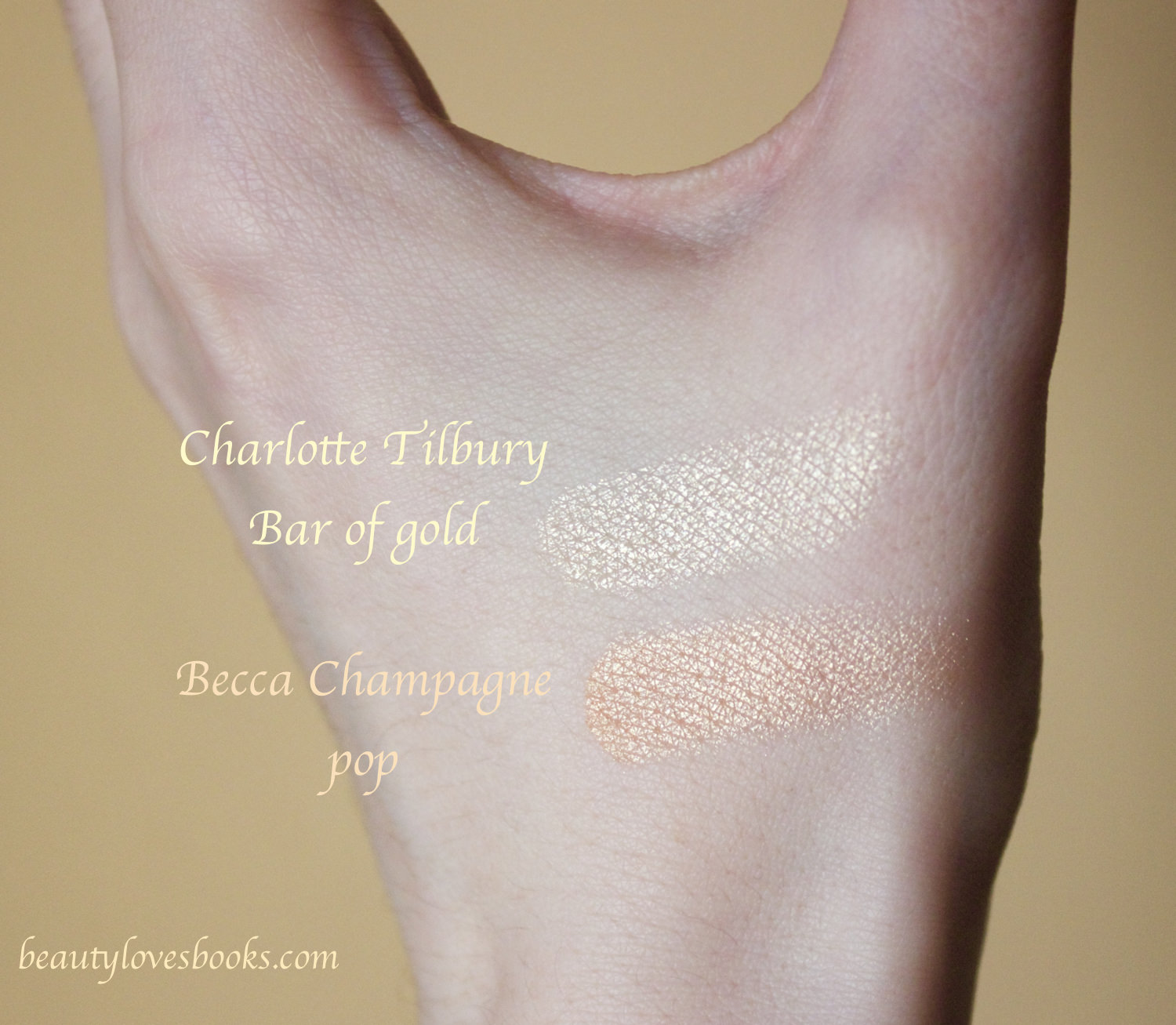 Becca Jacklyn Hill Shimmering skin perfector in Champagne pop and Charlotte Tilbury Bar of gold