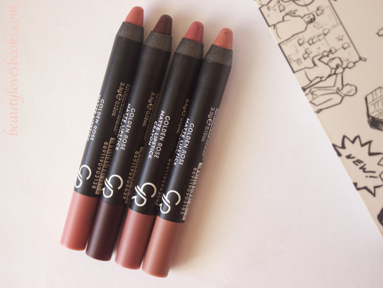 Golden rose matte lipstick crayons in the shades 03, 10, 13 and 18 - review and swatches