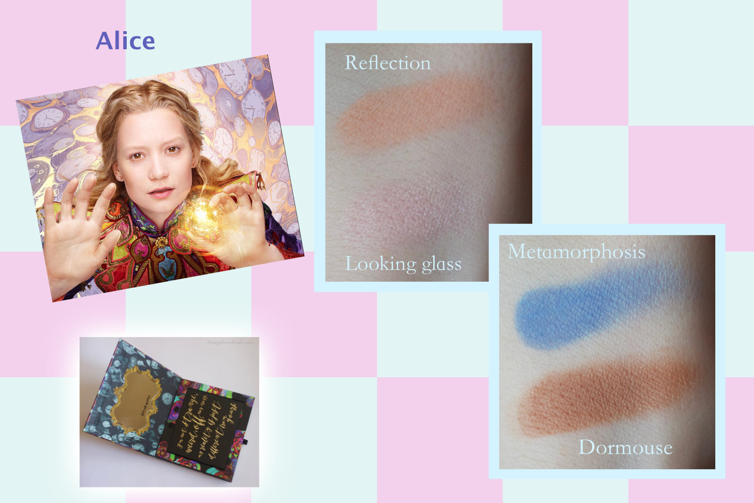 Urban Decay X Alice through the looking glass eyeshadow palette swatches, Alice makeup look