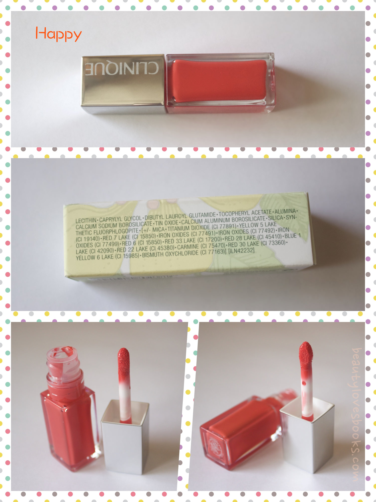 Clinique Pop Lacquer lip colour+base in the shade 03 Happy pop - photos, ingredients