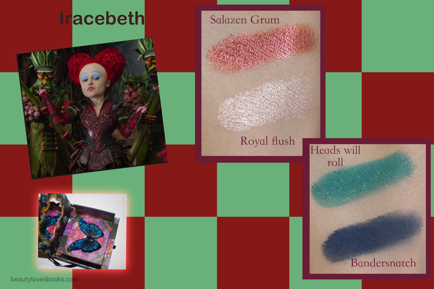 Urban Decay X Alice through the looking glass eyeshadow palette swatches, Red queen look