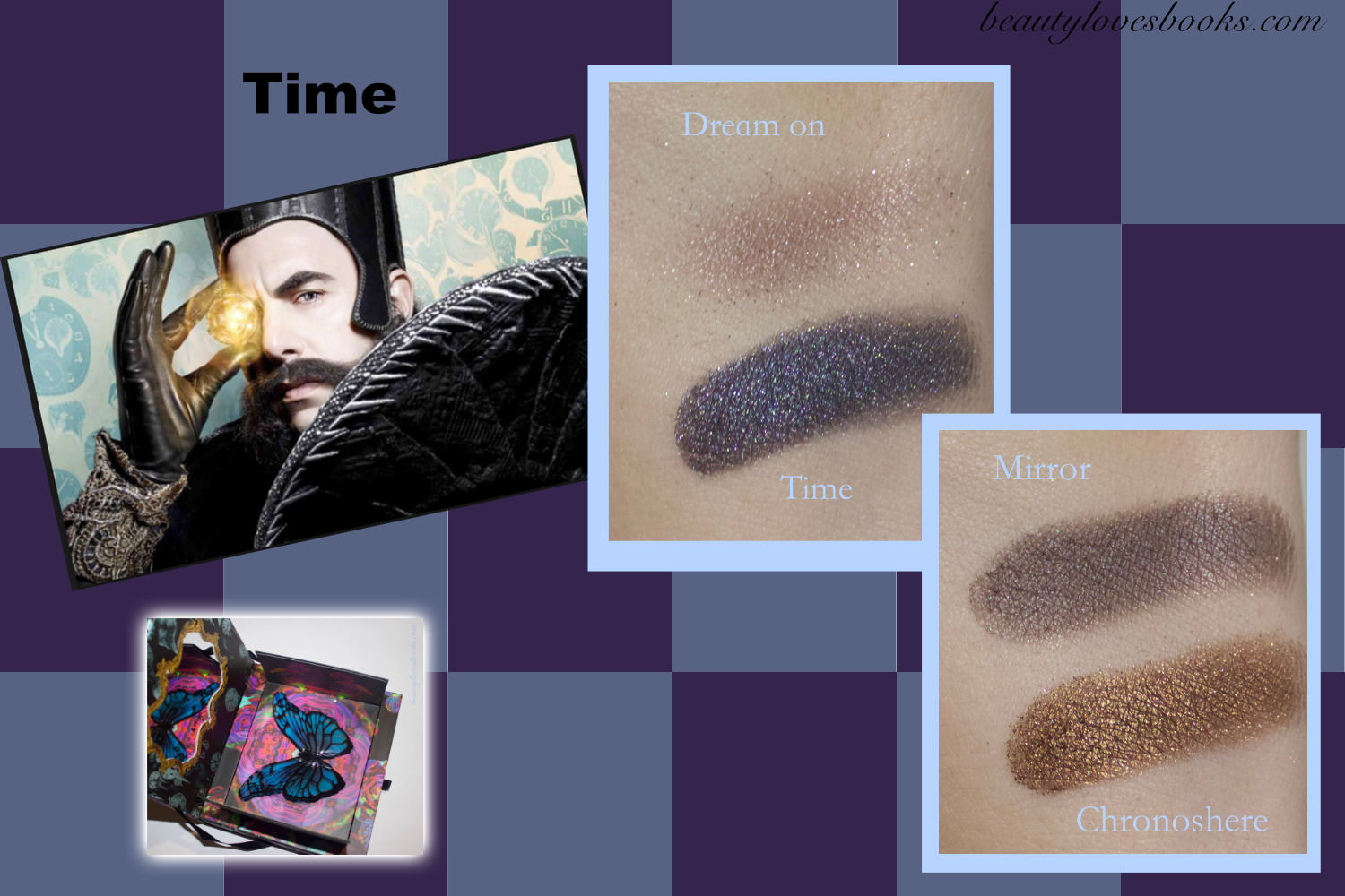 Urban Decay X Alice through the looking glass eyeshadow palette swatches, Time makeup look
