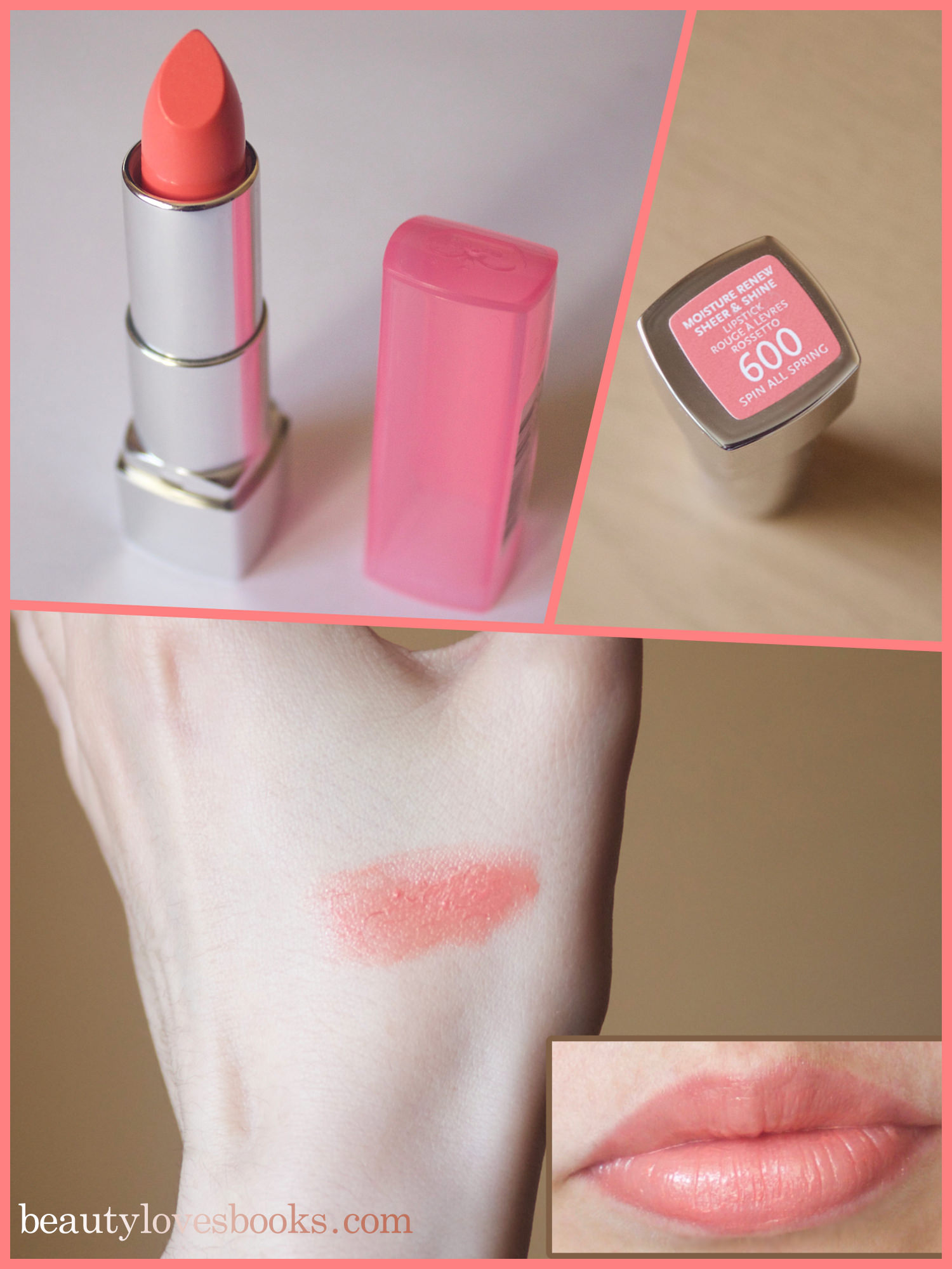 Rimmel Moisture Renew Sheer & Shine lipstick in the shade 600 Spin All Spring - сватцхес