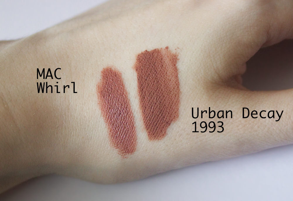 Urban Decay Liquid lipstick 1993 and MAC Whirl