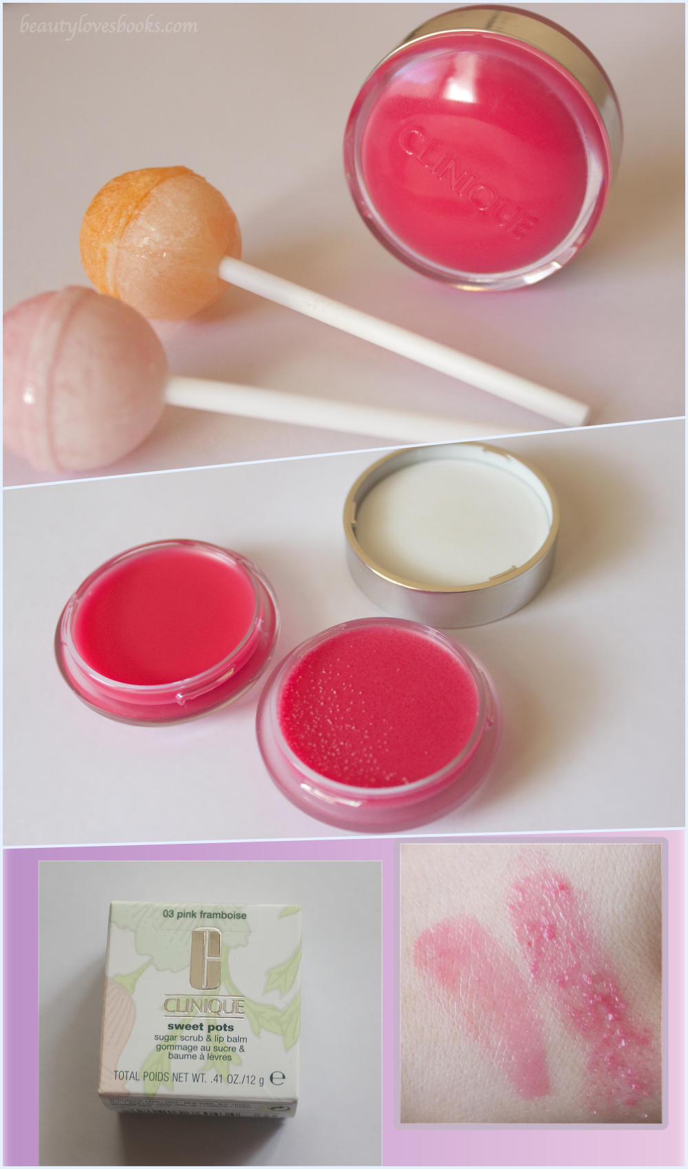 Clinique Sweet pots sugar scrub & lip balm в 03 pink framboise swatches