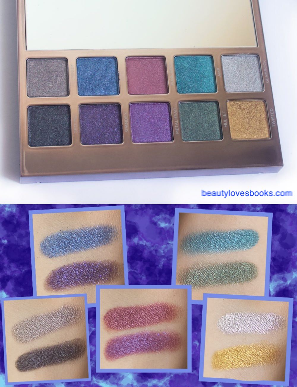 Urban decay Heavy metals eyeshadow palette brights swatches