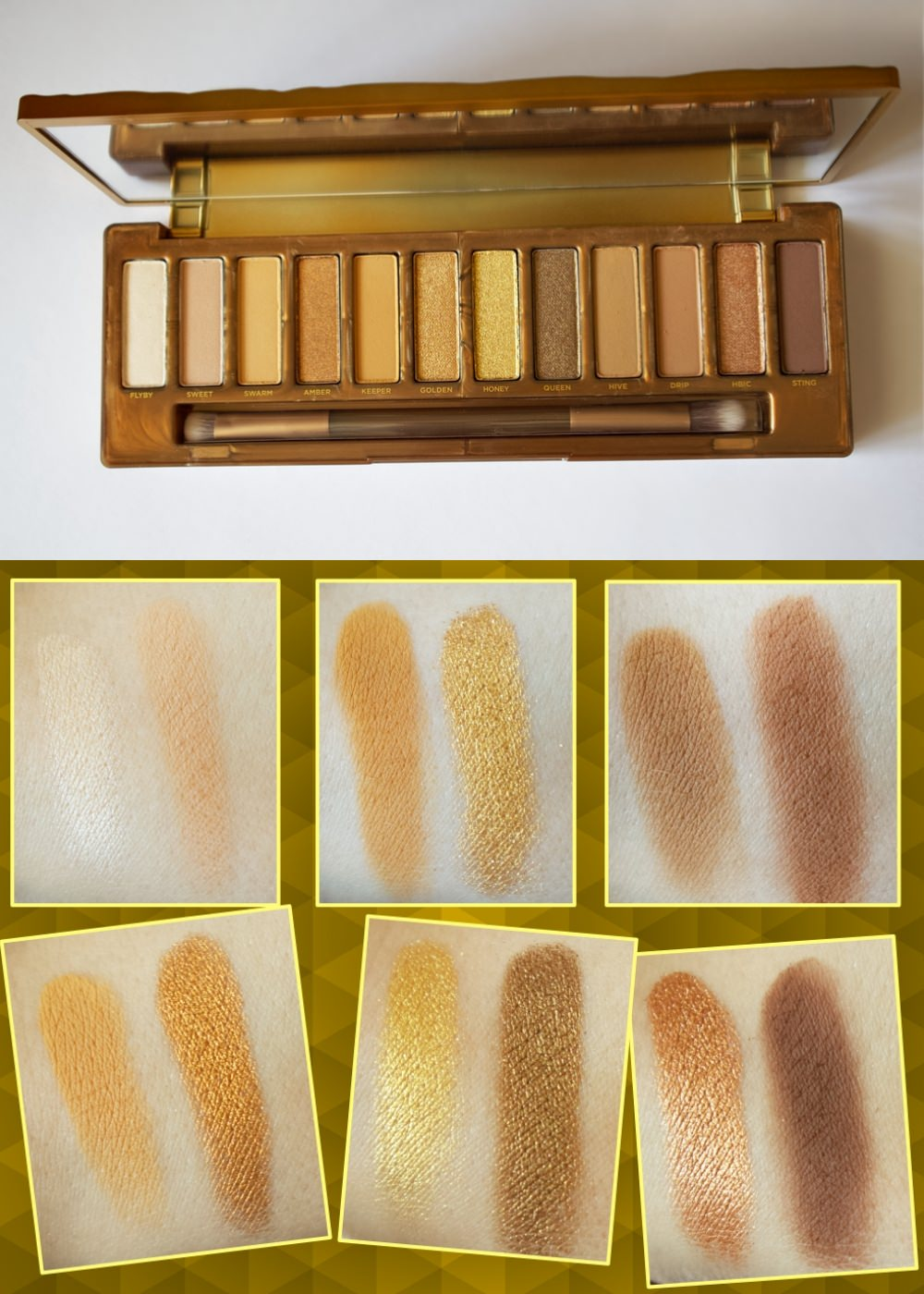 Urban decay Naked Honey eyeshadow palette swatches
